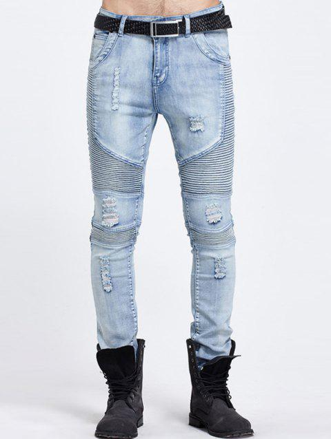 Ribbed Pocket Rivet Frayed Ripped Jeans - BLUE 28