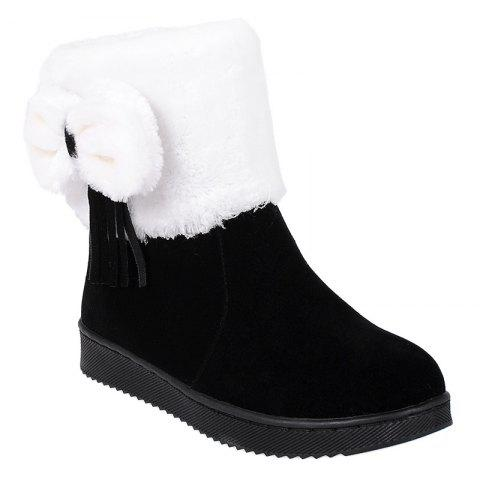 Suede Fringe Bow Snow Boots - BLACK 38