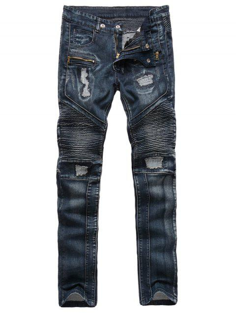 Zippered Ribbed Insert Straight Leg Ripped Jeans - DEEP BLUE 36
