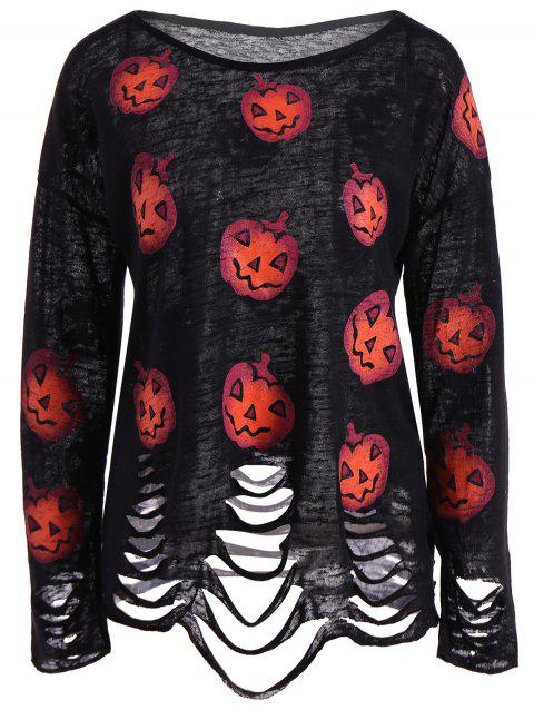 Pumpkin Ripped Halloween Knitwear - BLACK 2XL