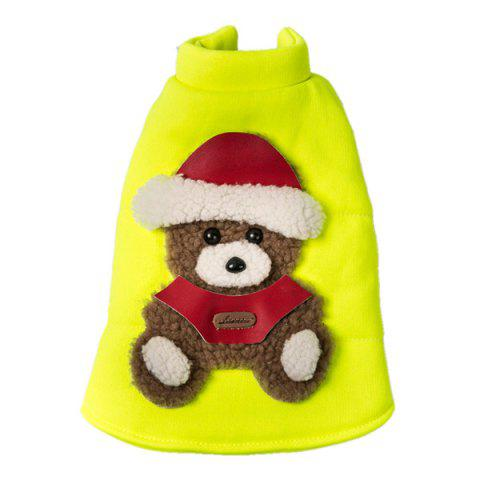 Soft Nap Little Bear Fluorescent Jacket Winter Warm Christmas Puppy Clothes - YELLOW S