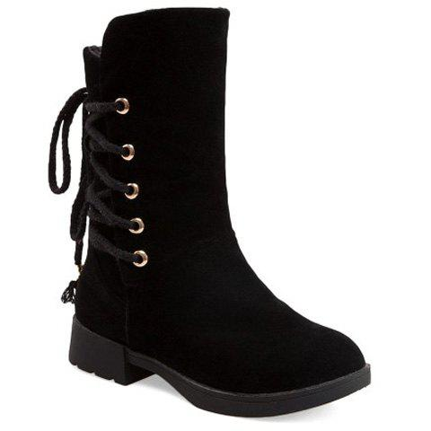 Suede Back Lace-Up Low Heel Mid-Calf Boots - BLACK 38