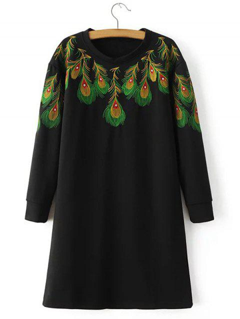 Loose Peacock Feather Embroidered Sweatshirt Dress - BLACK L