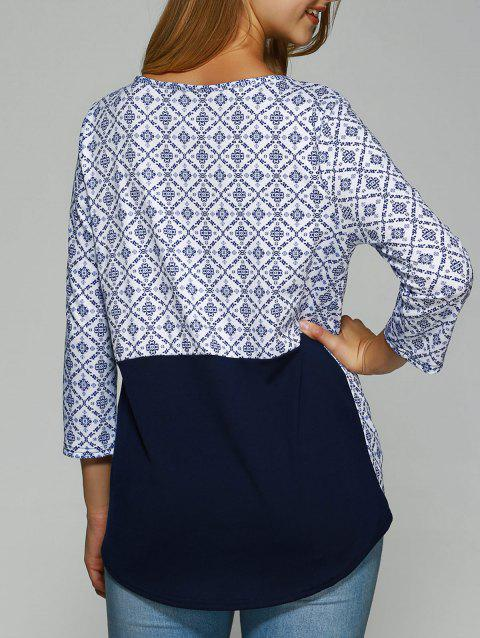 Ornate Printed Asymmetrical Spliced T-Shirt - PURPLISH BLUE L