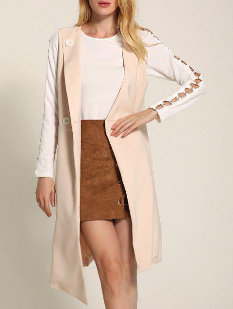 One Button Long Asymmetric Waistcoat - APRICOT L