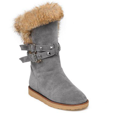 Rivet Buckle Faux Fur Snow Boots - GRAY 39