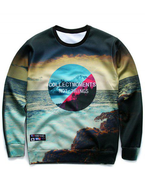Round Neck Long Sleeve 3D Letter and Sea Print Sweatshirt - COLORMIX XL