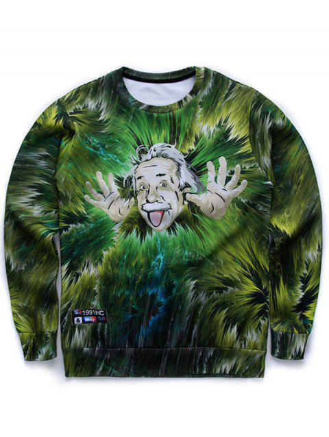 Round Neck Long Sleeve 3D Jungle and Einstein Print Sweatshirt - GREEN L