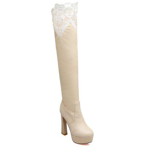Lace Spliced Chunky Heel Thigh High Boots - LIGHT APRICOT 37