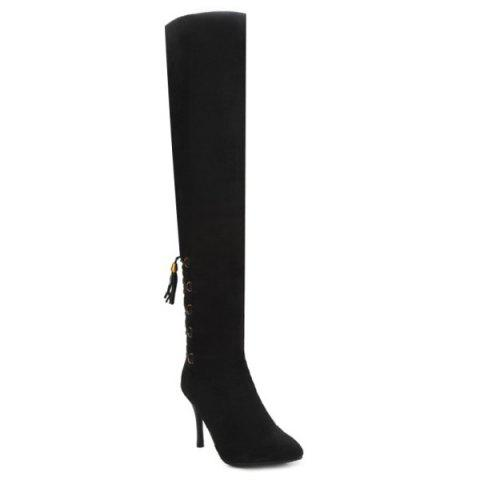Tassels Pointed Toe Lace Up Thigh Boots - BLACK 37