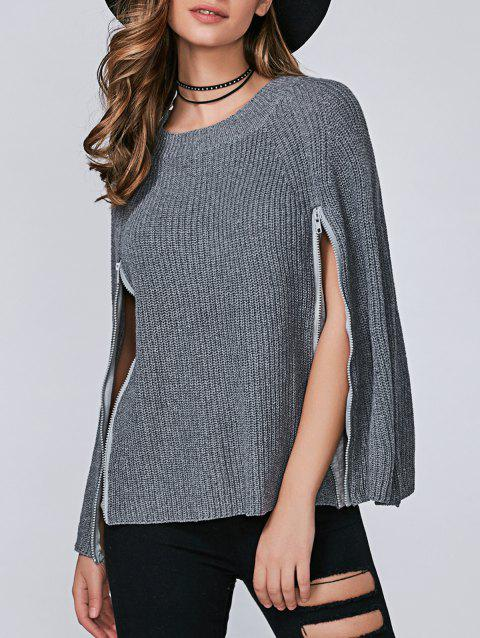 Zipper Pullover Cape Sweater - GRAY ONE SIZE