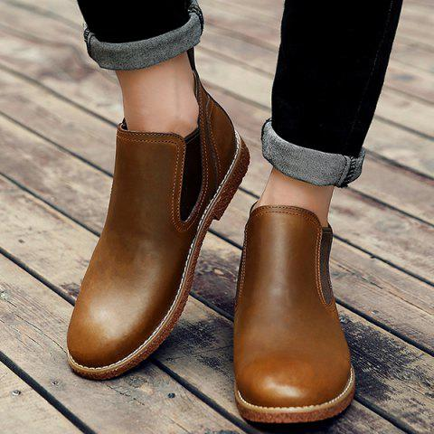 Stitching Slip-On PU Leather Ankle Boots - BROWN 42