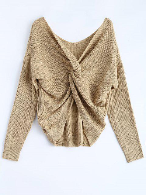 baf7b1d92bf6 41% OFF  2019 V Neck Knotted Back Chunky Jumper Sweater In EARTHY ...