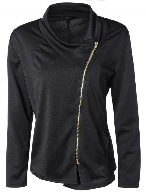 Asymmetric Side Zip Up Jacket - BLACK M