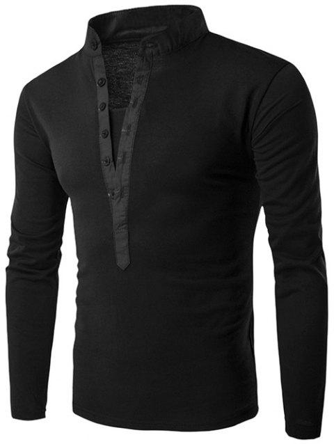 Long Sleeve Button Fly Grandad Collar T-Shirt - BLACK M