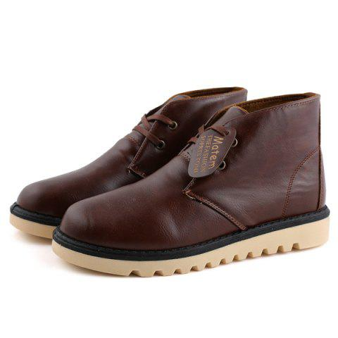 PU Leather Stitching Short Boots - BROWN 44