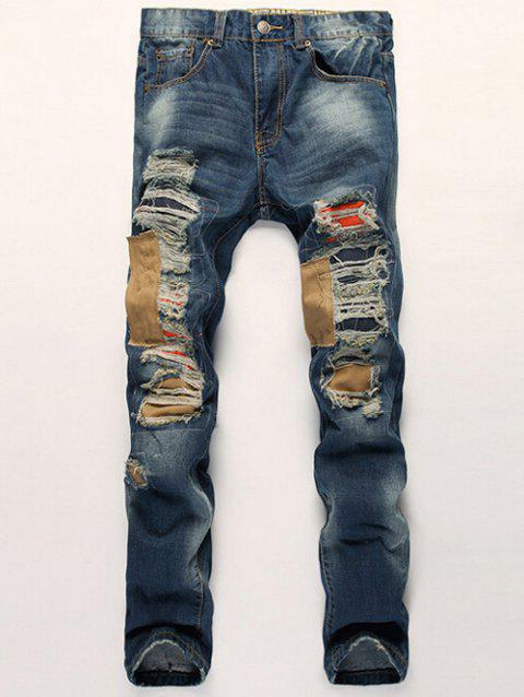 Zipper Fly Patch Design Distressed Straight Leg Jeans - BLUE 34