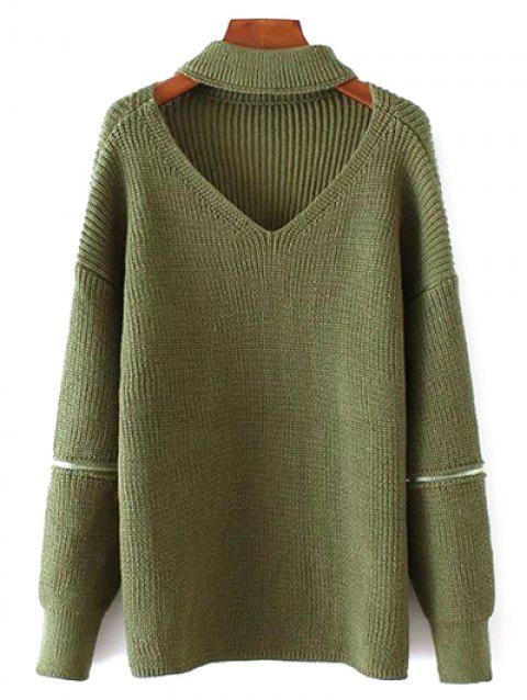 Oversized Choker Sweater - GREEN ONE SIZE