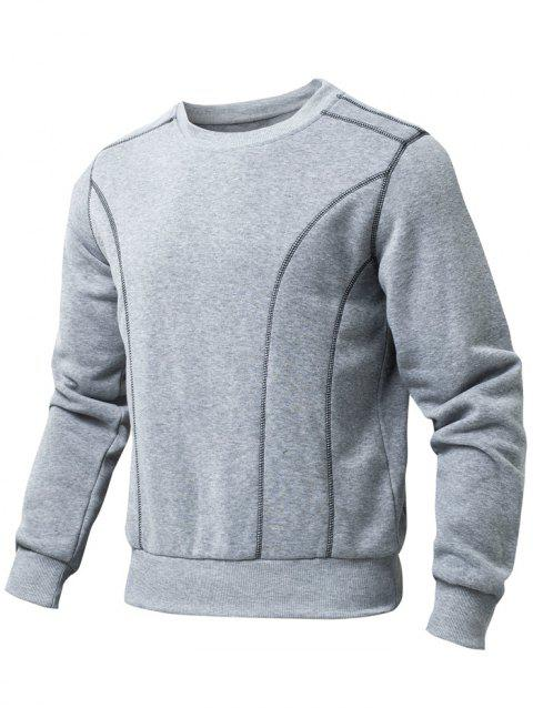 Crew Neck Stitches Embellished Long Sleeve Sweatshirt - GRAY S