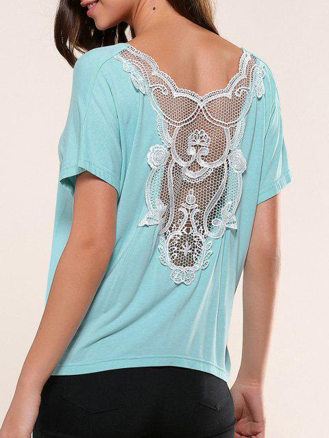 Lace Splicing Openwork T-Shirt - LIGHT BLUE S
