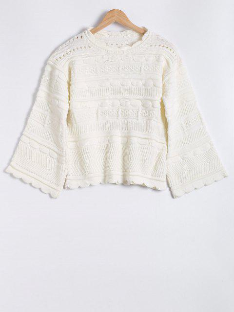 Évider col rond Jacquard Mohair Sweater - Blanc ONE SIZE