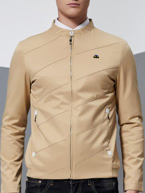 Stand Collar Side Pocket Zip Up Jacket - KHAKI M