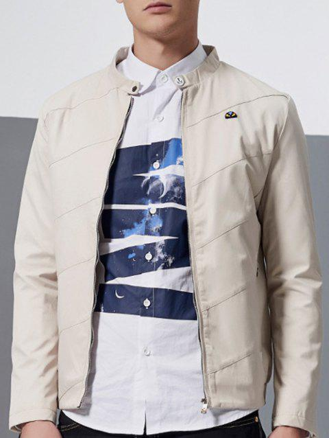 Stand Collar Side Pocket Zip Up Jacket - OFF WHITE XL