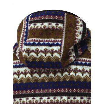 Zipper Up Tribal Printed Hoodie - COFFEE L