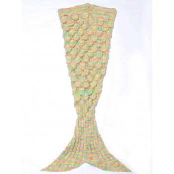 Endearing Multicolored Knitted Strtchy Mermaid Blanket - YELLOW YELLOW