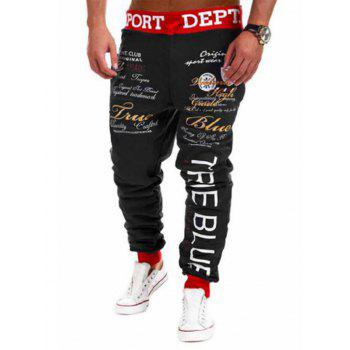 Letters Print Lace-Up Low-Slung Crotch Beam Feet Jogger Pants