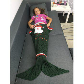Openwork Knitted Santa Claus Pattern Christmas Mermaid Blanket