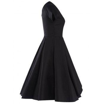 Retro V Neck Asymmetric Dress - BLACK BLACK