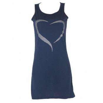 Fitted Heart Pattern Tank Dress - DEEP BLUE DEEP BLUE