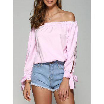 Off the Shoulder Bowknot Long Sleeve Blouse
