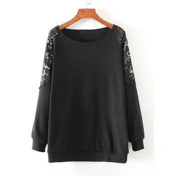 Lace Patchwork Pullover Sweatshirt