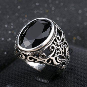 Faux Gem Oval Section Retro Ring
