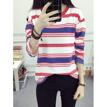 Stripe Loose T-Shirt - RED RED