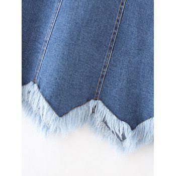 Vague Cut Frayed Denim Mini-jupe - Noir XL
