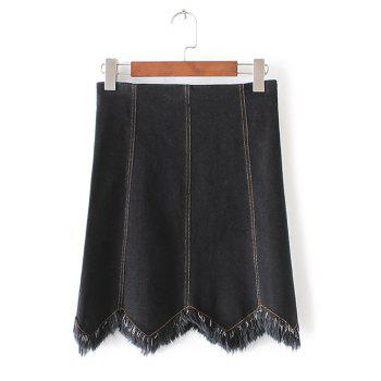 Wave Cut Frayed Denim Mini Skirt