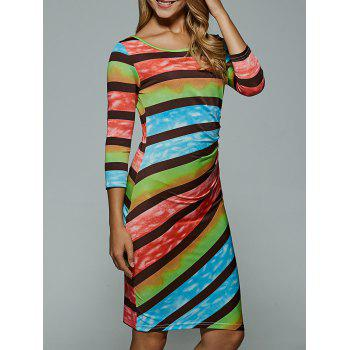 Colorful Stripe Bodycon Dress