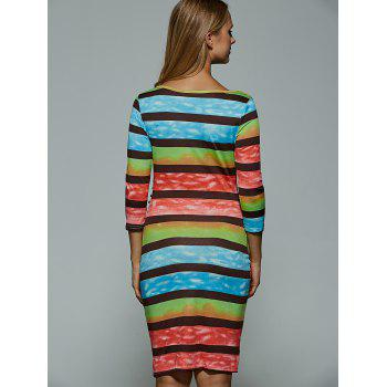 Colorful Stripe Robe moulante - Bleu S