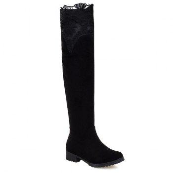 Embroidery Splicing Suede Thigh Boots