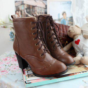 Tie Up Chunky Heel Engraving Ankle Boots - DEEP BROWN 38