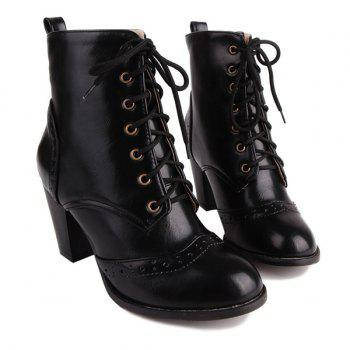 Tie Up Chunky Heel Engraving Ankle Boots