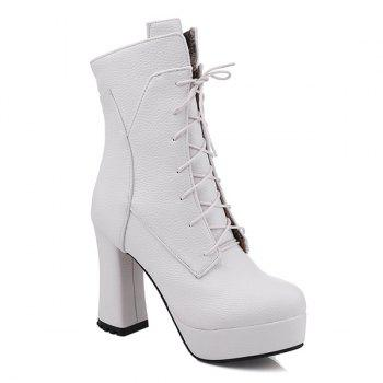 Lace-Up Platform Textured Leather Short Boots