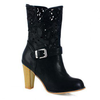 PU Leather Buckle Engraving Boots