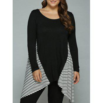 Buy Plus Size Striped Loose Fitting Asymmetrical Blouse WHITE/BLACK