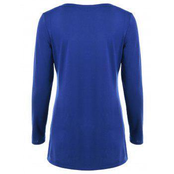 Double-Breasted Asymmetrical T-Shirt - BLUE XL