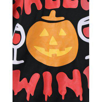 Pumpkin Lamp Skew Neck Halloween T-Shirt - BLACK BLACK
