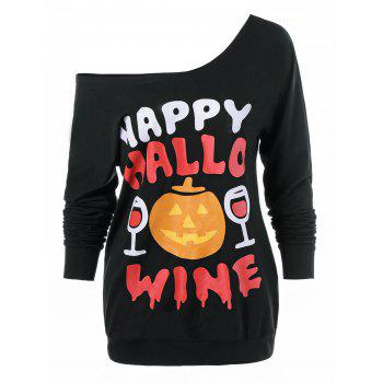 Pumpkin Lamp Skew Neck Halloween T-Shirt - BLACK XL